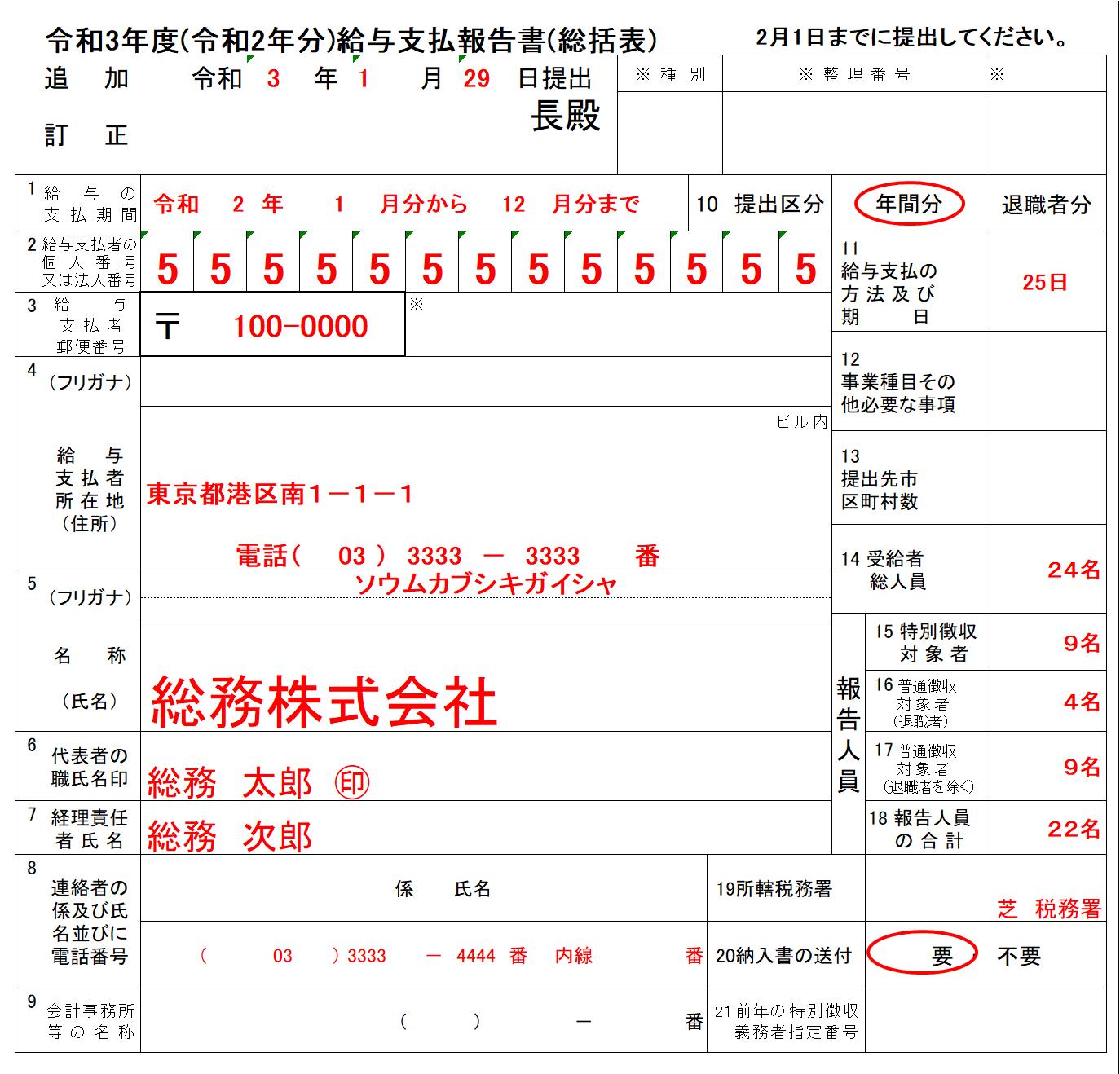 給与支払報告書(総括表)の記入例、書き方、注意点