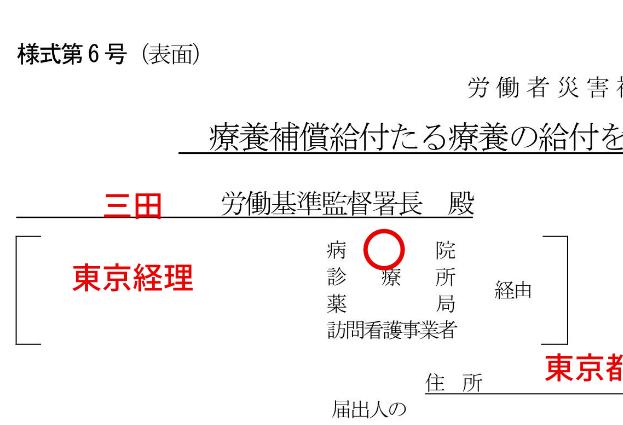 労災「療養補償給付たる療養の給付を受ける指定病院等(変更)届」(様式第6号)の記入例、書き方、注意点