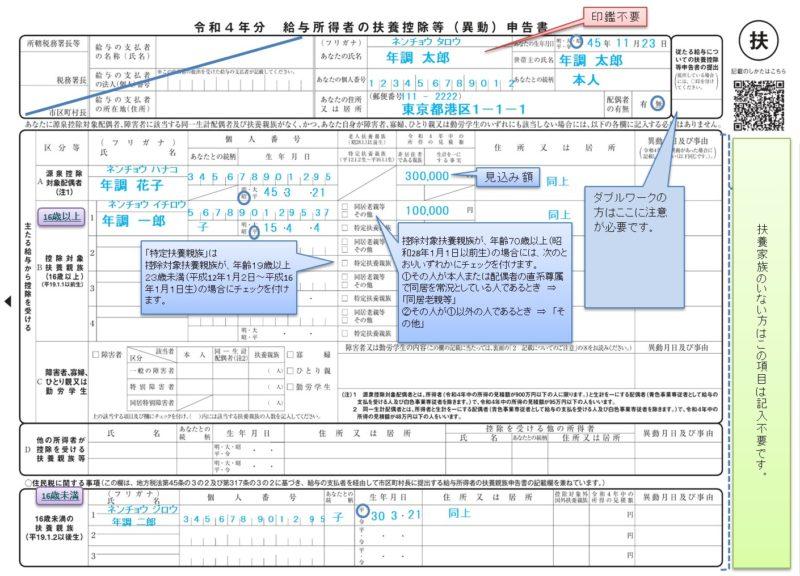 「令和4年分給与所得者の扶養控除等(異動)申告書」の書き方、記入例、変更点、注意事項など